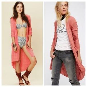 """""""Fp beach"""" cardigan in coral."""